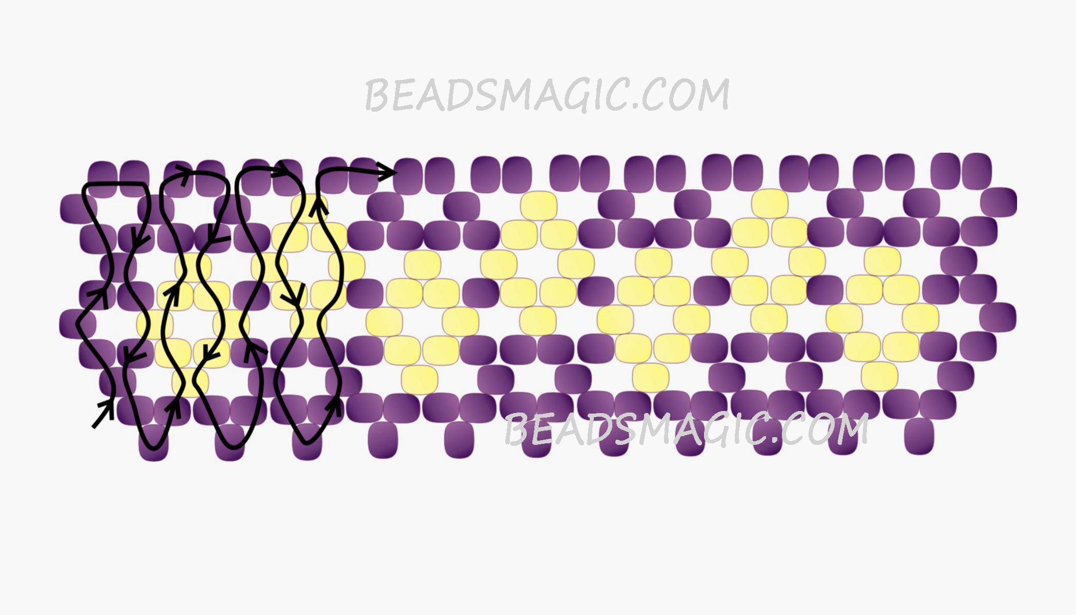 Колье из бисера кирпичным плетением схемы