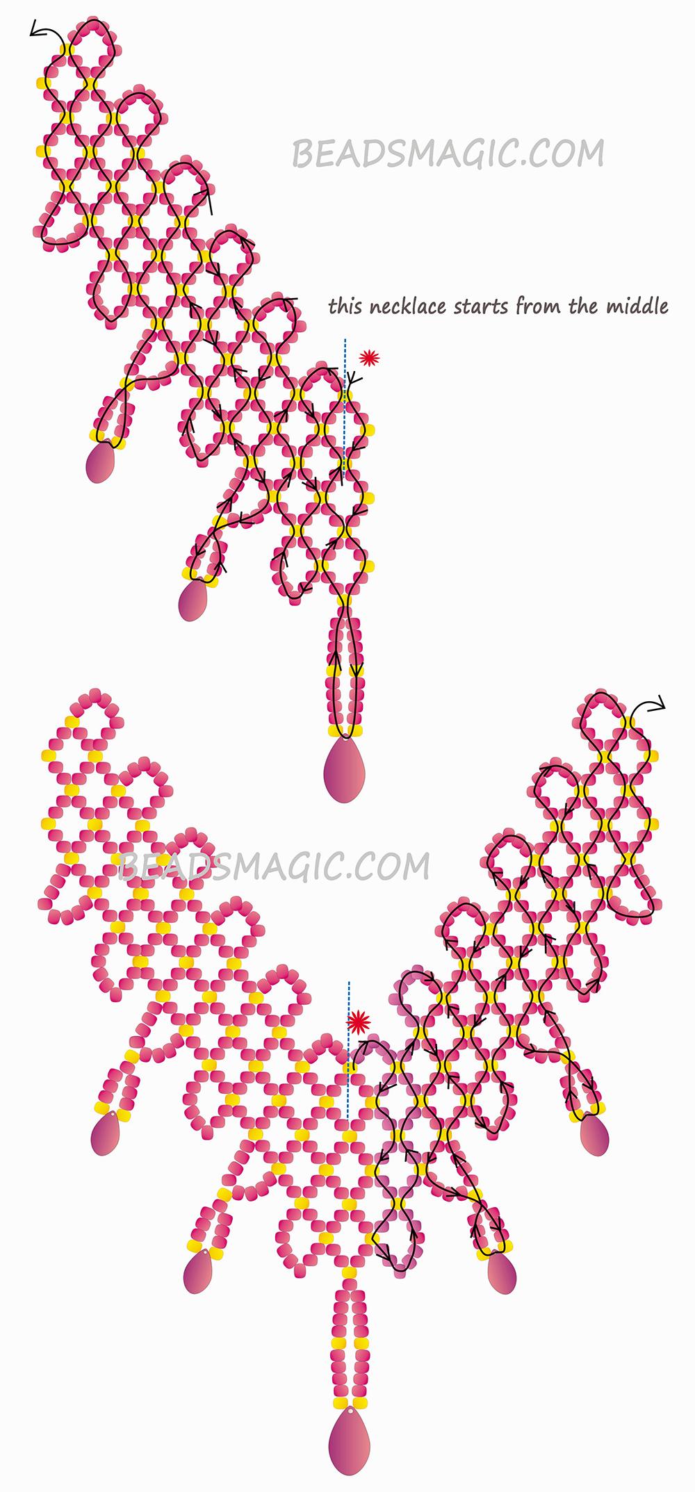 Простая схема плетения из бисера колье
