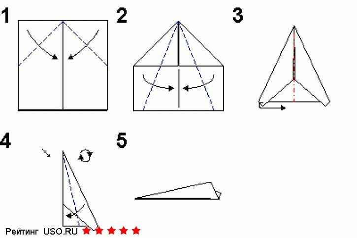 Схема простого самолетика оригами