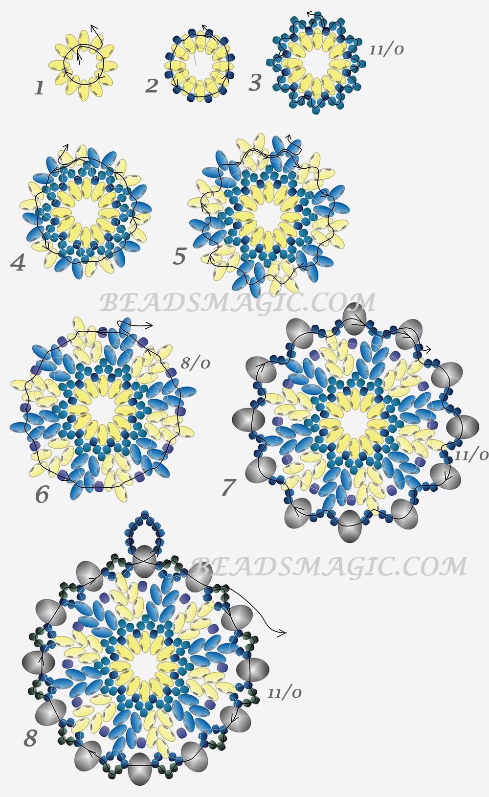 Снежинки из бисера своими руками схемы
