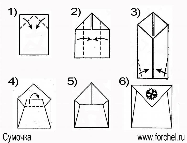 Как сделать оригами портфель.