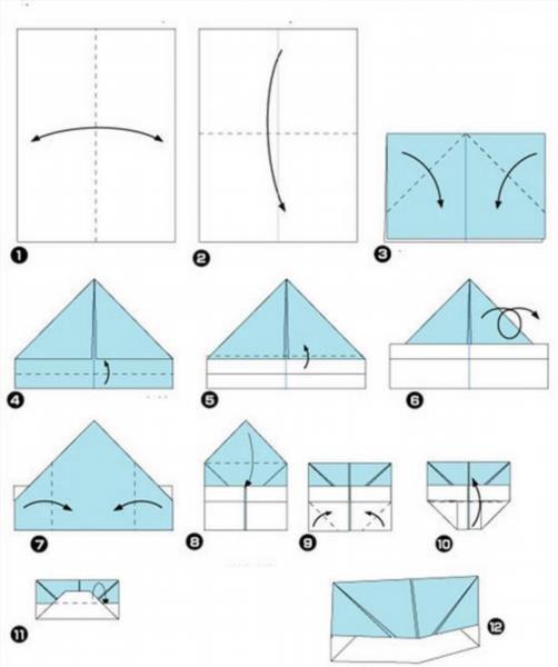 Пилотки оригами схема