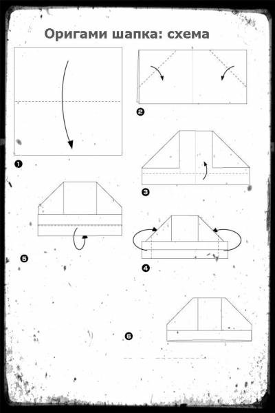 Шапка из бумаги схемы