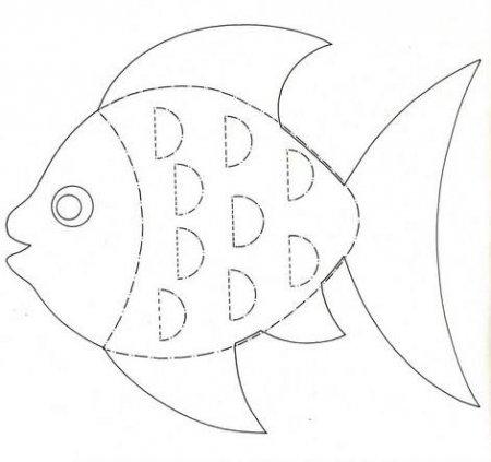 Рыбки в аквариуме трафареты