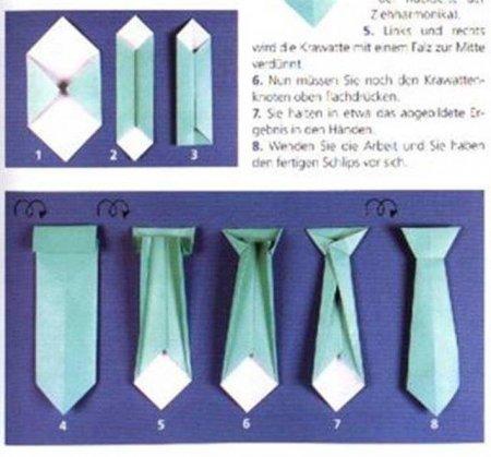 Как сделать оригами из бумаги галстук