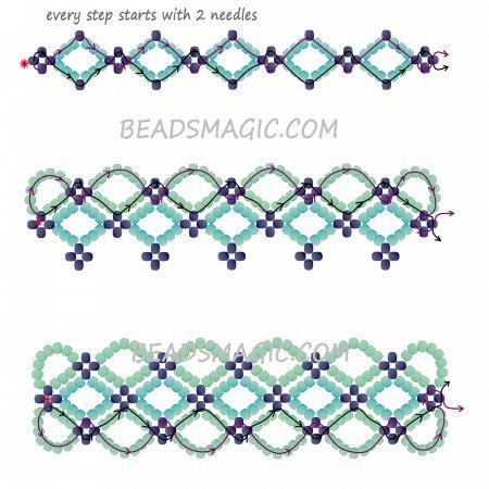 Легкая схема браслетов из бисера своими руками 870