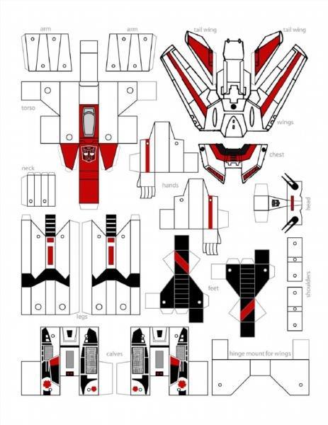 Роботы из бумаги с схемами