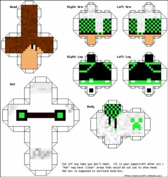 Майнкрафт из бумаги схемы распечатать - поделки фигурки