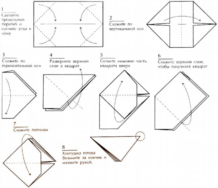 Оригами своими руками схема хлопушка