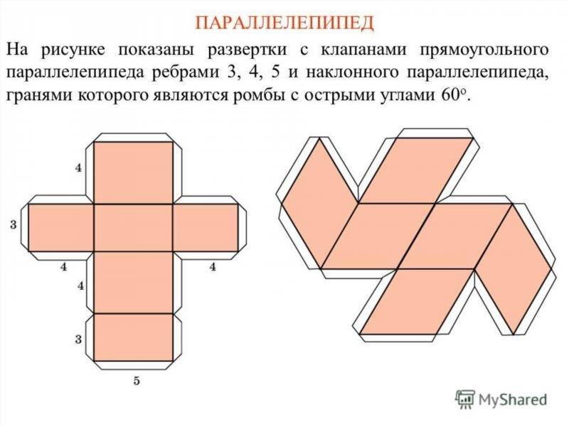 Как сделать параллелепипед из бумаги схема 5 класс с размерами 157
